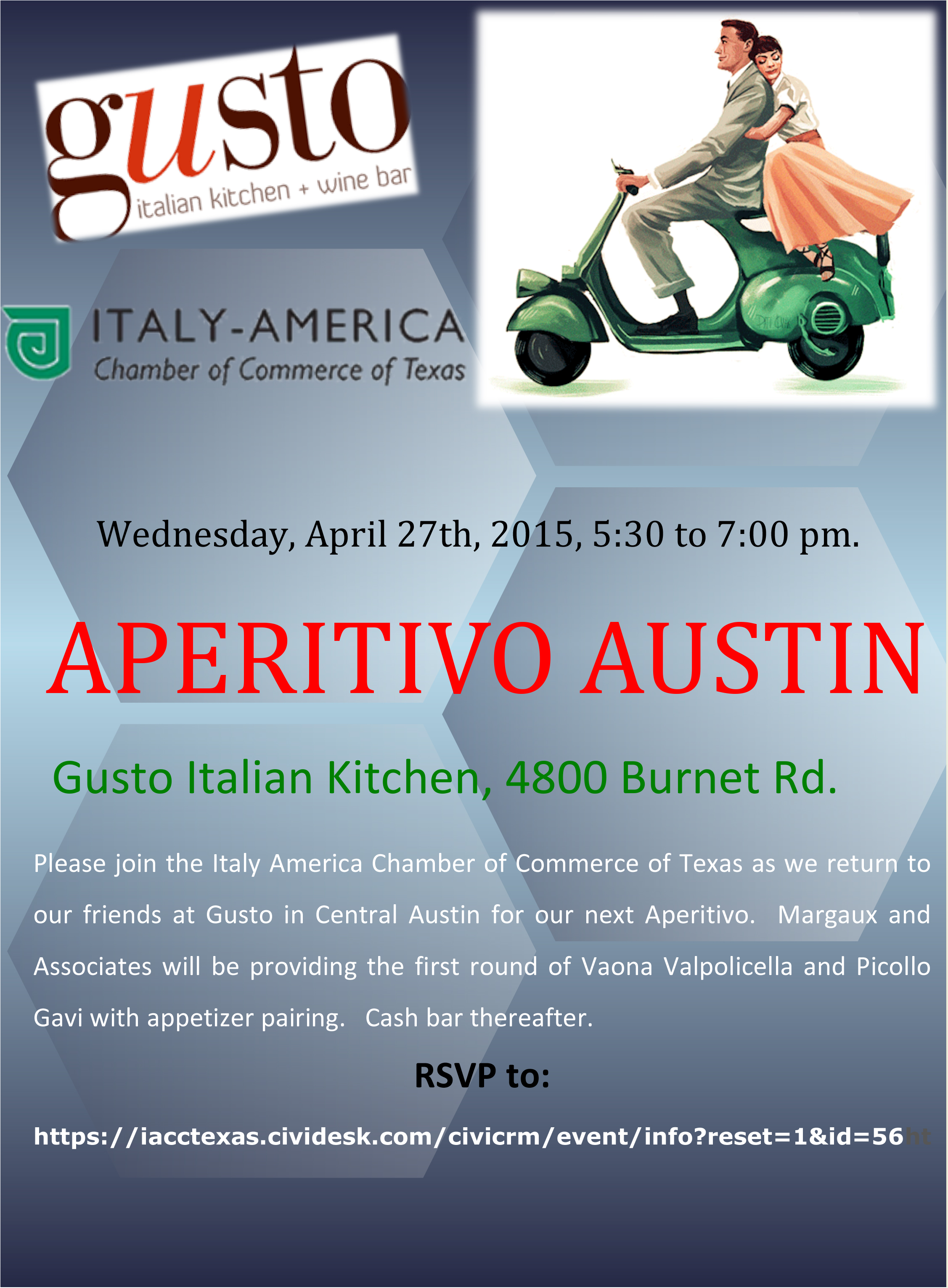 Aperitivo austin gusto italian kitchen april 27th for Gusto italian kitchen